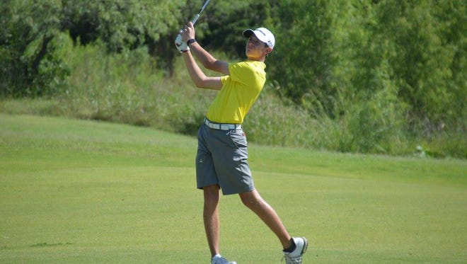 Central High School's Jansen Smith hits a golf shot in summer 2017 action.