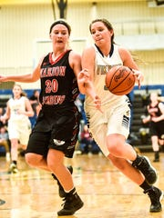 River Valley's Alexis Stevens makes her way around Marion Harding's Lyndsey Neal Thursday night.