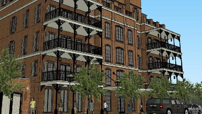 This is a rendering of the luxury condominiums proposed to be built on Palafox Place.