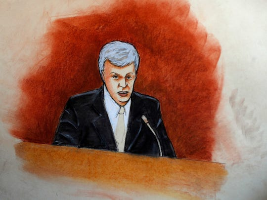 In this sketch provided by courtroom artist Jeff Kandyba,