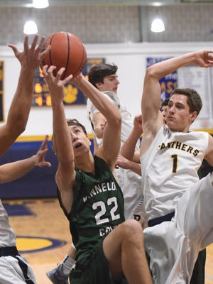 Dylan Cathcart (22) and the Kinnelon boys' basketball team are off to a 9-2 start and are in first place in the NJAC-Independence Conference standings.