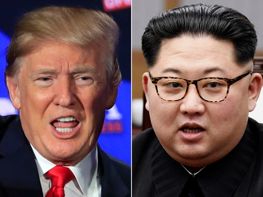 A proposed summit between President Trump and North Korean leader Kim Jong Un is just weeks away. Here Trump, left, speaks during a roundtable discussion on tax cuts in Cleveland, Ohio, May 5, 2018 and North Korean leader Kim Jong Un, right, talks with South Korean President Moon Jae-in in Panmunjom, South Korea, April 27, 2018.