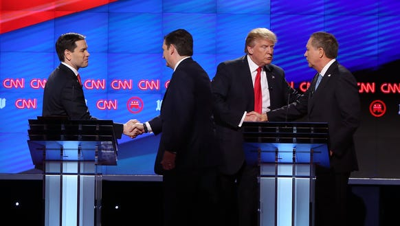 The Republicans during a recent debate in Coral Gables,