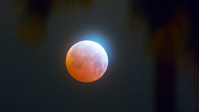 """The """"blood moon"""" lunar eclipse, as seen from central Scottsdale on April 4, 2015. This photo was taken at 4:57 a.m. just after the peak of the eclipse which only last four minutes in our area. The photo was taken with a 600 mm lens, or one which gives a view of about 12 times closer than what your eye sees."""