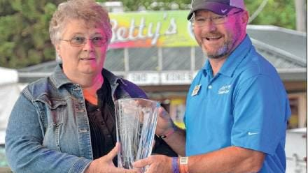 Jeannie Hofer of Huron, was one of the South Dakota Farmers Union 2019 Rural Dakota Pride honorees recognized during the 2019 State Fair. Pictured here with South Dakota Farmers Union President Doug Sombke. South Dakota Farmers Union is asking South Dakotans to nominate a volunteer who makes a difference in their community for the Rural Dakota Pride Award.