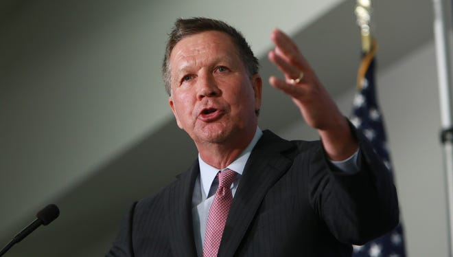 Ohio Governor John Kasich speaks to the Detroit Economic Club in April, 2015 at Cobo Center in downtown Detroit.