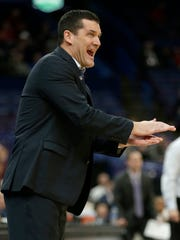 Northern Iowa head coach Ben Jacobson reacts to a call