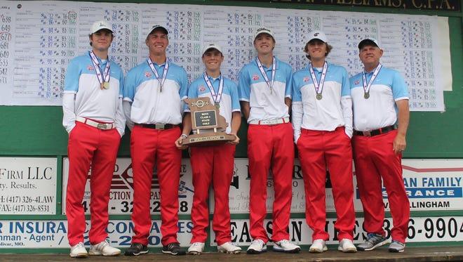 Glendale High School's boys golf team won the 2016 state championship tournament May 16-17 at Silo Ridge in Bolivar. From left: Sam Holmes, Alex Locke, Chase Gafner, Graham Sherard, Christopher Obert and coach Chris Obert.