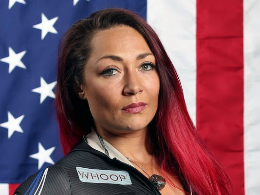 FILE - In this Sept. 25, 2017, file photo, United States skeleton hopeful Katie Uhlaender poses for a portrait at the 2017 Team USA Media Summit in Park City, Utah. Uhlaender and other members of the U.S. skeleton team suggested Thursday, Feb. 8, 2017, that the rest of the world should follow the testing model employed by the U.S. Anti-Doping Agency, especially with the ongoing fallout from the Russian doping scandal that saw widespread accusations of cheating and now a belief that many flat-out beat a broken system.(AP Photo/Rick Bowmer, File)