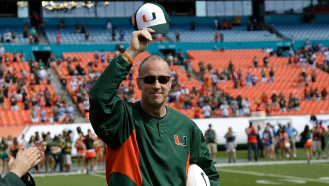 Jim Kelly was the honorary captain for the Miami Hurricanes on Saturday.
