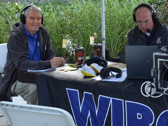 Dick Crum (left) and Pat Sullivan frequently broadcast
