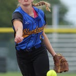 Martensdale-St. Marys sophomore Kylie Sherwood pitches against Newell-Fonda. Martensdale-St. Marys beat Newell-Fonda 5-2 in the Class 1A third-place game July 22 at the state tournament in Fort Dodge.