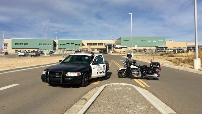 Farmington Police Department units block the entrance to Tibbetts Middle School in Farmington after a bomb threat was reported at the school on Monday afternoon.