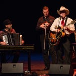 """From right, """"Ranger Doug"""" Green, Larry Franklin, and Jeff Taylor perform with other members of The Time Jumpers perform at Ruby Diamond Concert Hall in Tallahassee, Fla., on Monday, February 9, 2015."""