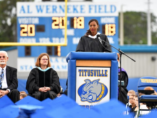 Titusville High School principal Annetha Jones speaks to the crowd at last year's school graduation.