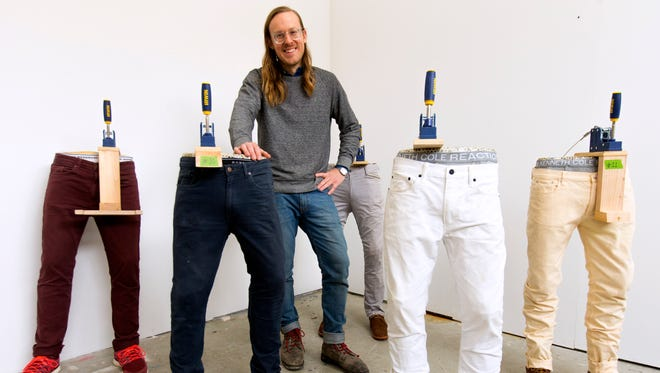 John Riepenhoff, who has become known internationally for work that is about presenting the work of other artists, is shown with molds of his lower body that are then used as easels to display works created by other artists. A set of these easels is featured in the 2017 Whitney Biennial in New York City.