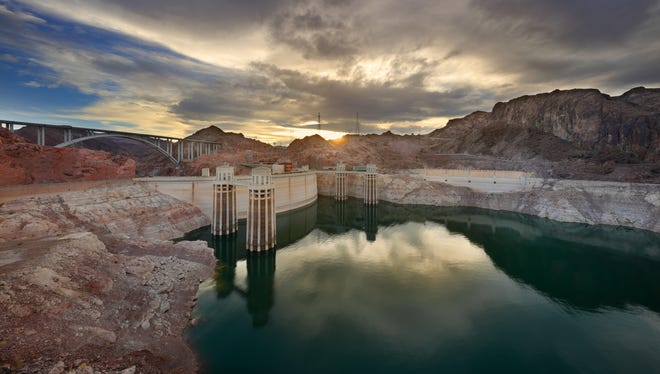 Hoover Dam at sunset.
