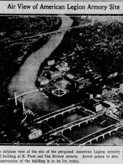 A 1933 Des Moines Register photo shows the location of the then-proposed Argonne Armory Building.