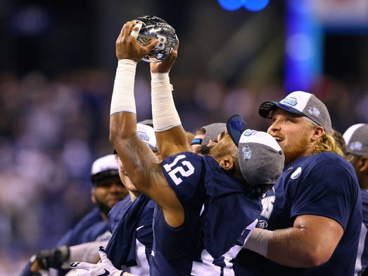 Penn State wide receiver Chris Godwin (12) reacts after