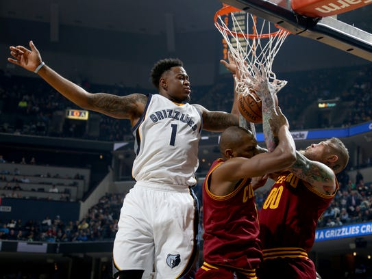 The Grizzlies' Jarell Martin gets in a tangle with