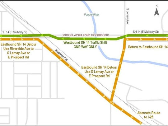 Replacement of the bridge that carries Mulberry Street across the Poudre River will require a detour that is expected to last about a year. Work on the project is beginning this week, with the detour starting later this month.