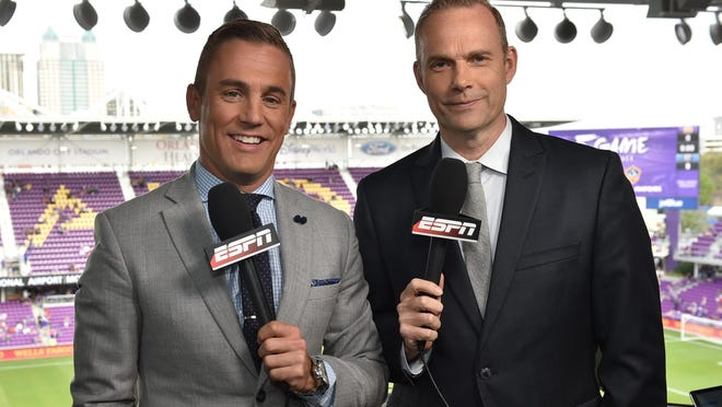 Adrian Healey, right, and Taylor Twellman call an MLS regular season game during the 2017 season. On Wednesday, Healey was tabbed as Austin FC's English-language broadcast voice.