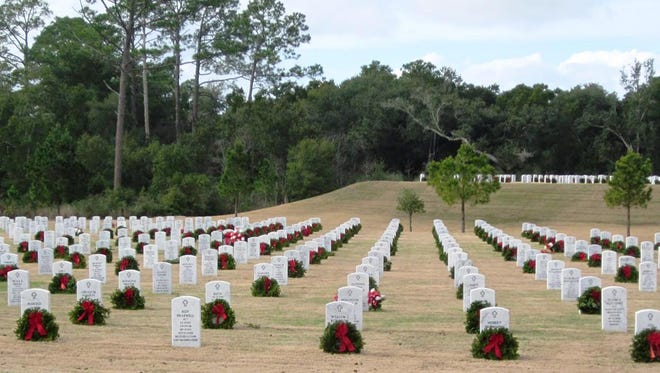 About 6,000 fresh wreaths will be placed at the headstones of fallen veterans at Barrancas National Cemetery on Dec. 13.