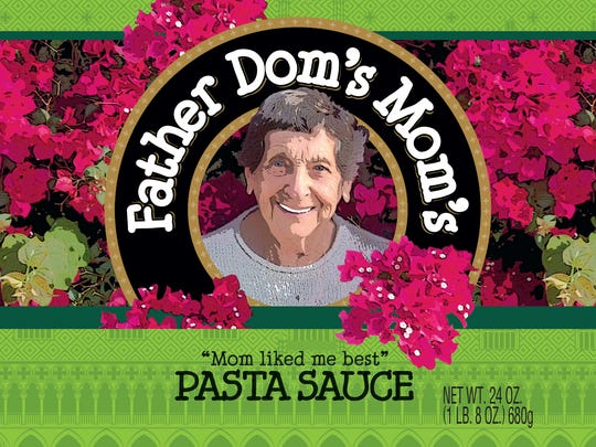 The label on Father Dom's Mom's Pasta Sauce includes a likeness of the mom, Angeline Roscioli.