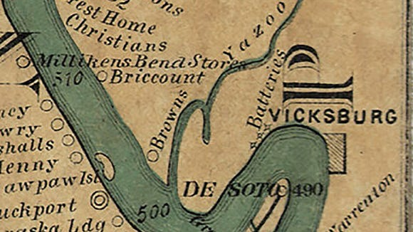 An 11-foot map of the Mississippi River notes points of interest in 1866.