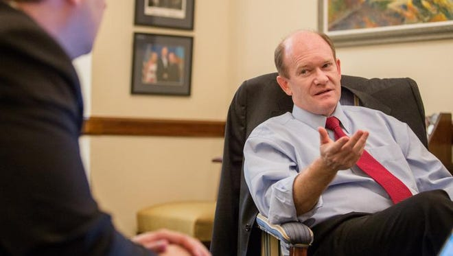 Sen. Chris Coons voted against  Debo Adegbile's nomination to head the Justice Department's civil rights division.