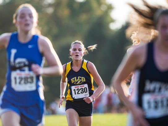 Elco's Lily Brubaker heads towards the finish line