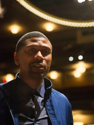 Jalen Rose speaks to reporters at the conclusion of the Fab Five forum on Saturday.