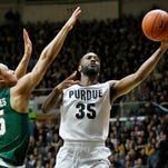 Rapheal Davis gets past Bryn Forbes of Michigan State Tuesday, February 9, 2016, at Mackey Arena. Purdue defeated Michigan State 82-81 OT.