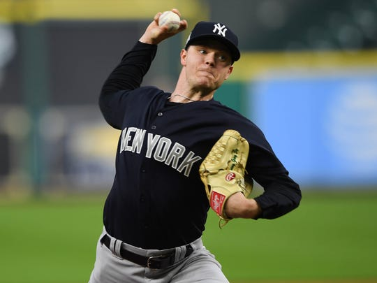 Yankees starting pitcher Sonny Gray delivers during workouts at Minute Maid Park.