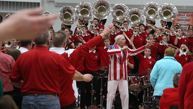 The University of Wisconsin Varsity Band performs  at Wausau East under the direction of Michael Leckrone.