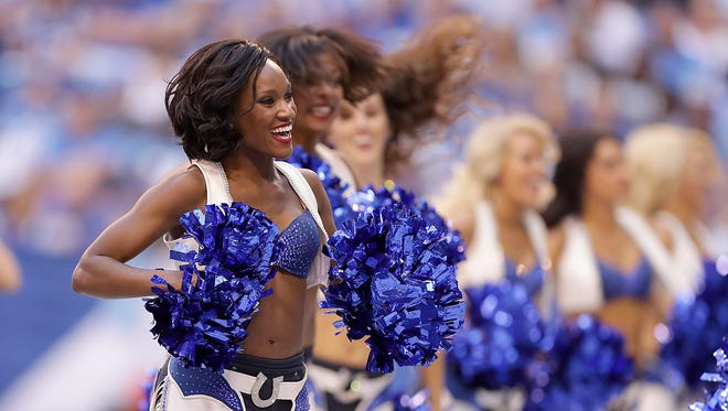 The Indianapolis Colts cheerleaders perform during the Colts game against the Detroit Lions Sunday, September 11, 2016, afternoon at Lucas Oil Stadium.