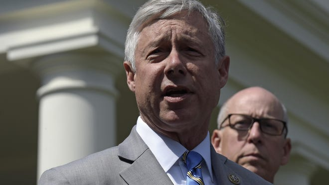 Rep. Fred Upton, R-Mich., left, speaks to reporters outside the White House in Washington, Wednesday, May 3, 2017, following a meeting with President Donald Trump on health care reform. Upton announced he will vote to impeach Trump over Trump's role in a violent siege of the U.S. Capitol on Jan. 6.