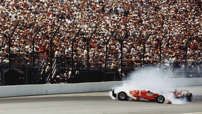 1985 Indianapolis 500, Danny Sullivan, who passed leader Mario Andretti, spins and then wins the 500 mile race.