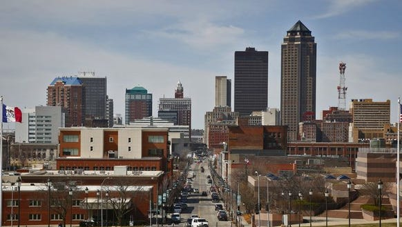 The Des Moines skyline as seen from the steps of the