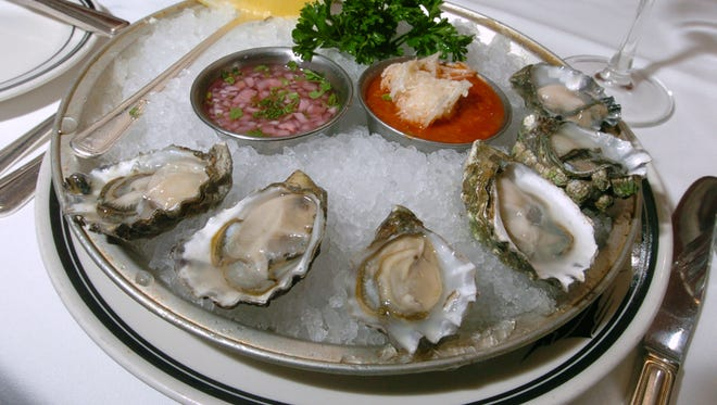 West Coast Kumamoto oysters at  The Oceanaire Seafood Room, 30 S. Meridian St.