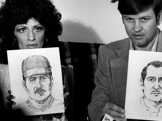 Noreen and John Gosch hold sketches in November 1982