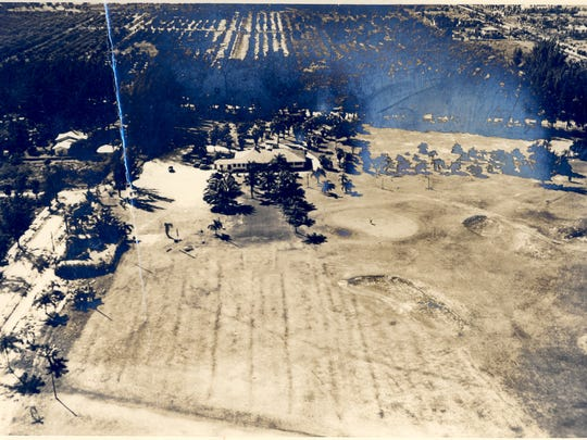 An aerial view of what is believed to be renovation of the now Fort Myers Country Club in 1916.