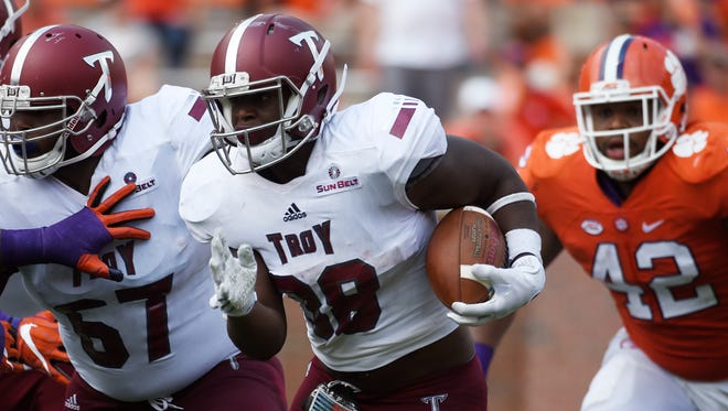 Troy's Jordan Chunn has the most rushing yards of any previous runner in school history, through the first three games of a season.