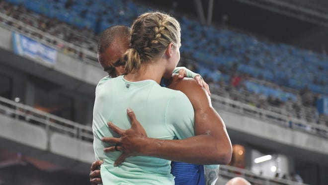 Ashton Eaton (USA) celebrates with wife Brianne Thiesen-Eaton after winning the decathlon in the Rio 2016 Summer Olympic Games at Estadio Olimpico Joao Havelange.