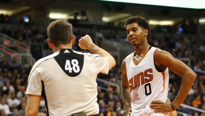 Phoenix Suns forward Marquese Chriss (0) complains about a foul called against him by referee Scott Foster (48) during the third quarter against the Miami Heat at Talking Stick Resort Arena January 3, 2017. He received a technical for arguing.