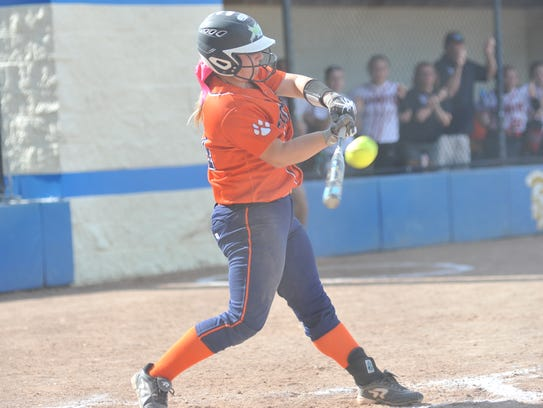 Galion's Madelyn Thomas hits a single in the fourth