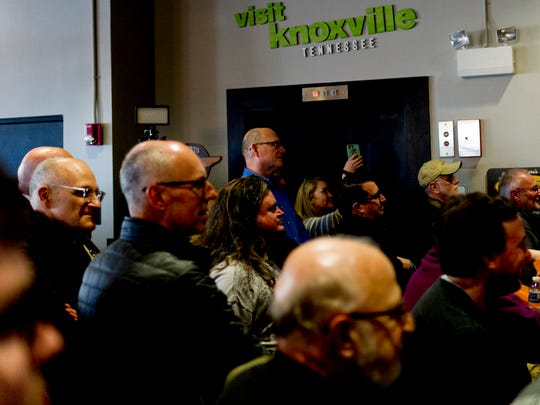 Attendees pack inside at the kickoff party for Big Ears 2018 at the Knoxville Visitor's Center in Knoxville, Tennessee on Thursday, March 22, 2018.