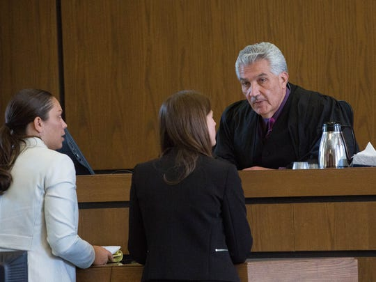 Judge Fernando R. Macias of the Third Judicial District Court speaks with Tai Chan's defense attorney Monnica Garcia, left, and Assistant District Attorney Kelly Herson, right, Tuesday, May 9, 2017.