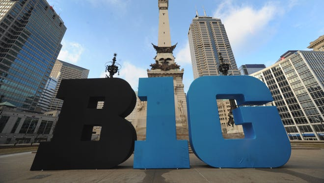 FILE - The Big Ten logo on the Soldiers and Sailors Monument on Monument Circle.