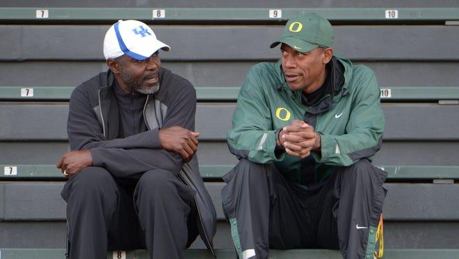 Kentucky Wildcats coach Edrick Floreal (left) and Oregon Ducks coach Robert Johnson at the 2014 IAAF World Junior Championships at Hayward Field.